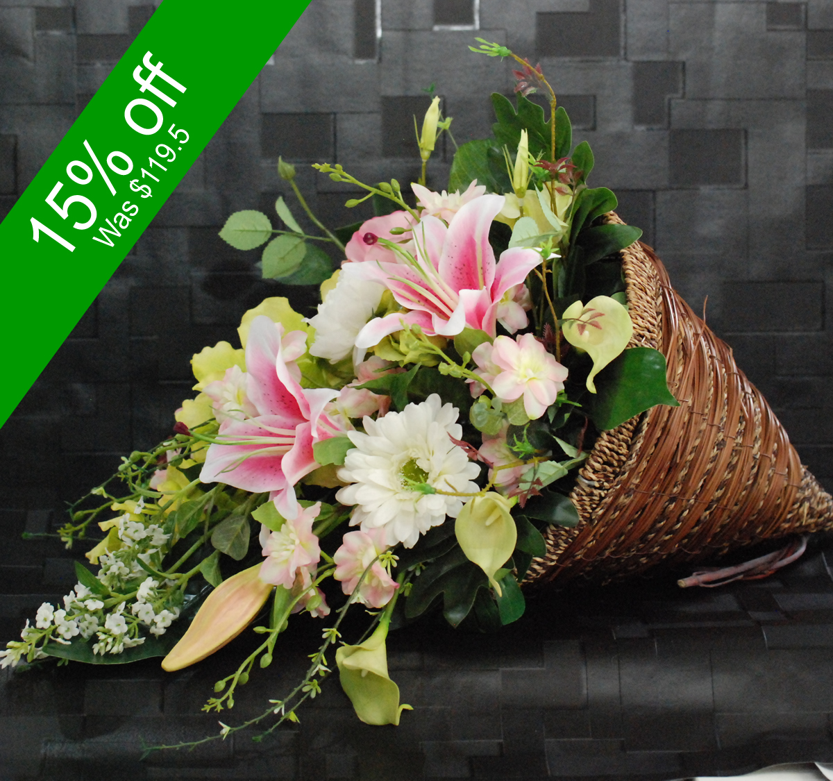 Artificial Wedding Bouquets In Sydney : Artificial cone basket arrangement angkor flowers