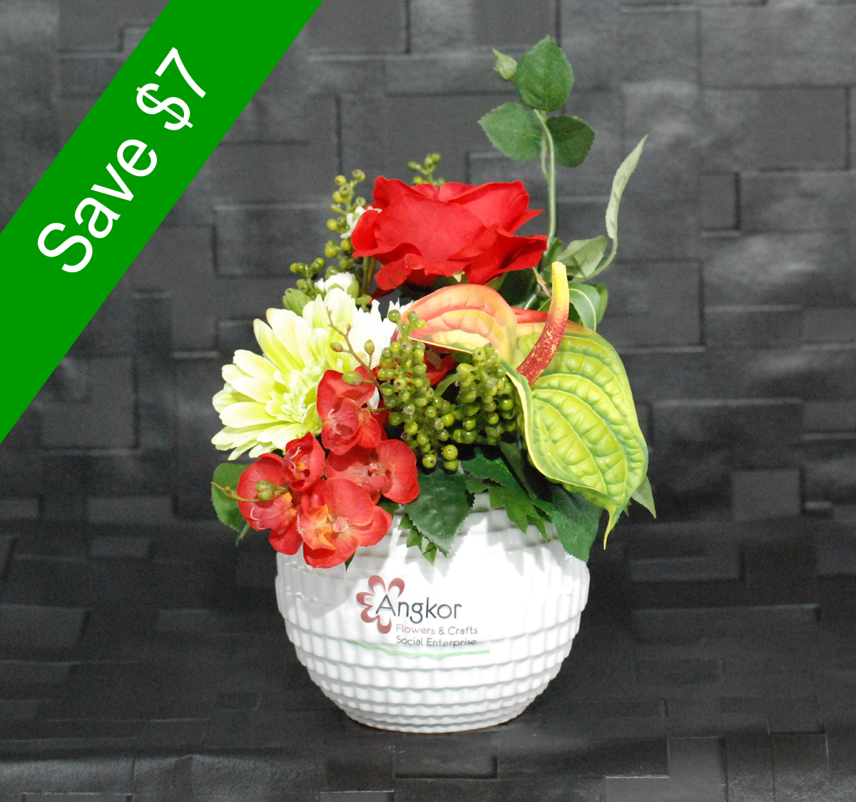 Artificial Flowers Elegant Red Small Angkor Flowers