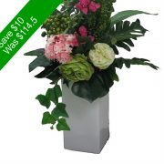 Artificial Flowers – Green and Pink Tall Vase Arrangement -SAVE10-2   for Home Decor or Gifting