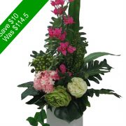 Artificial Flowers – Green and Pink Tall Vase Arrangement -SAVE10-3   for Home Decor or Gifting