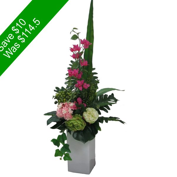 Artificial Flowers – Green and Pink Tall Vase Arrangement -SAVE10-   for Home Decor or Gifting
