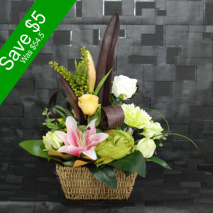 Artificial Flowers- Green and White Small Arrangement- for decor or gifting