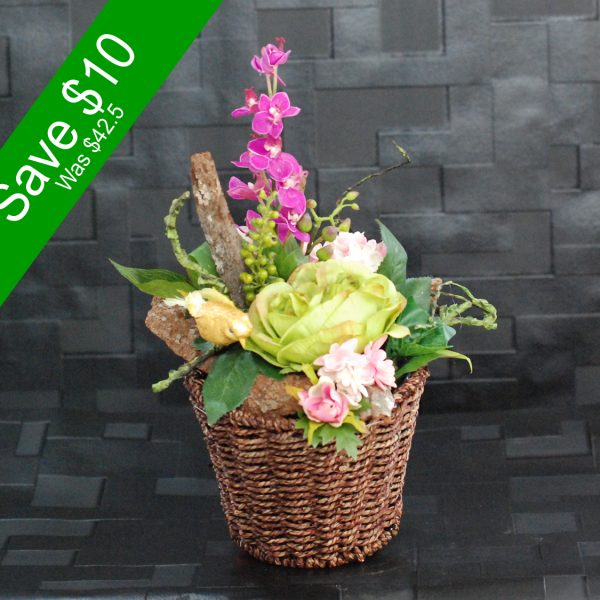 Artificial Flowers – Small Green Arrangement for home decor or gifting