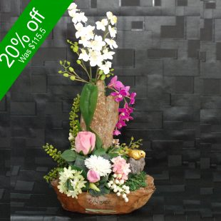 Artificial Flowers - Wooden Arrangement for home decor or gifting