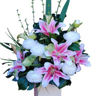 Artificial-Pink & White Arrangement