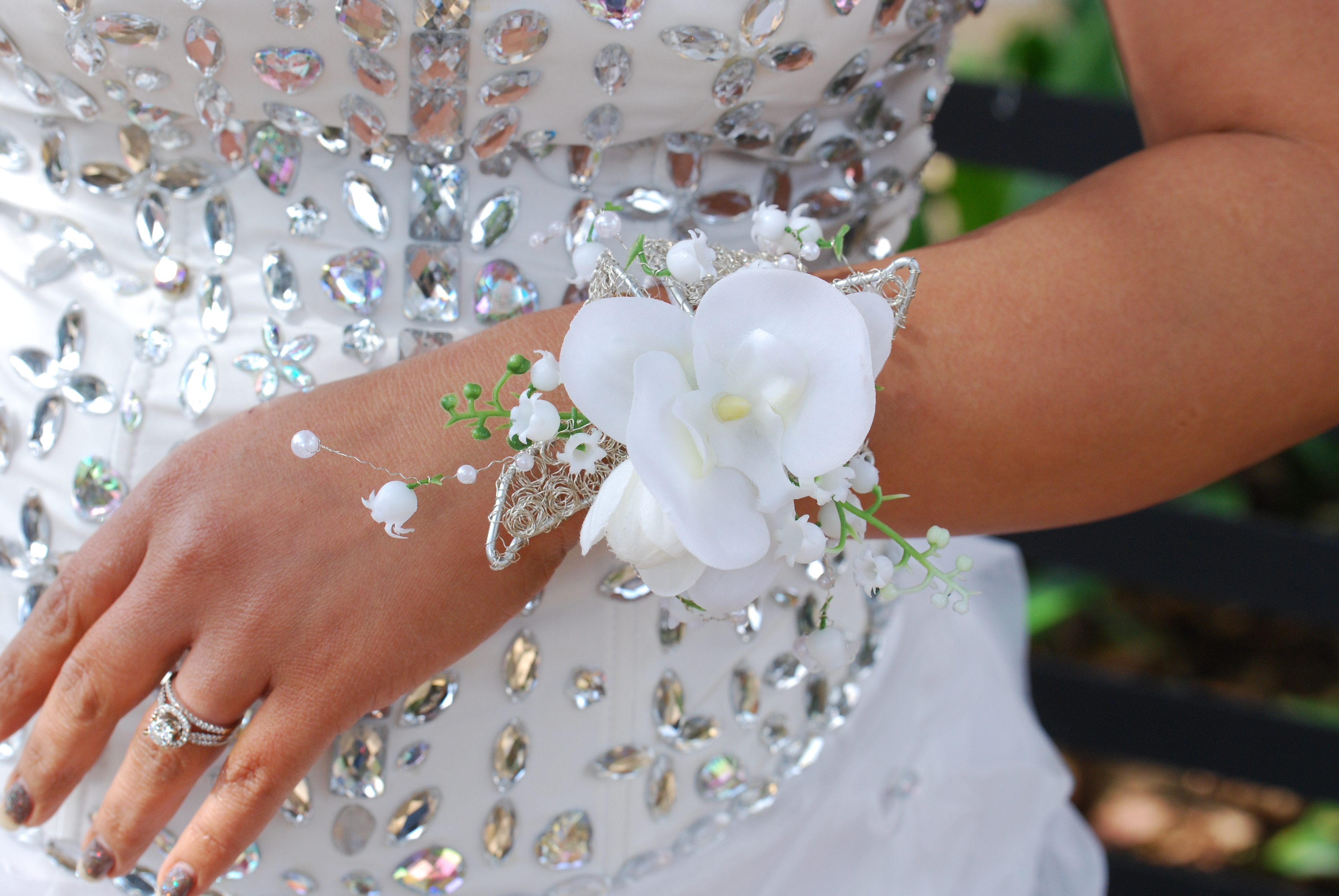 Bridal wrist corsage white Angkor Flowers