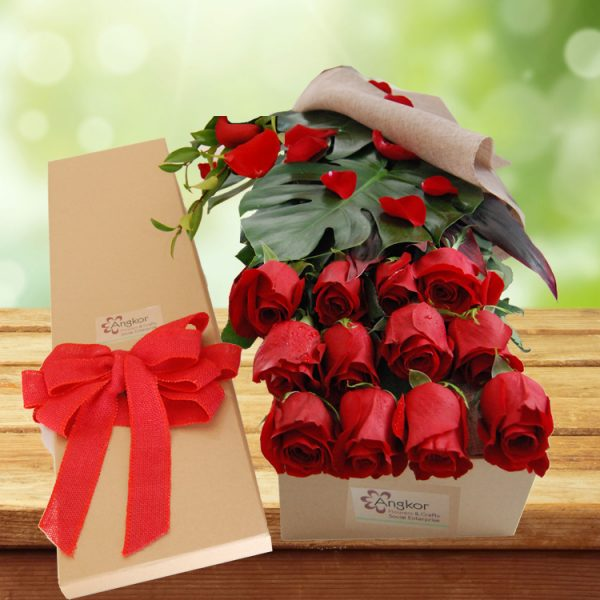 Exotic Rose Gift Box Red – 12 Long Stems