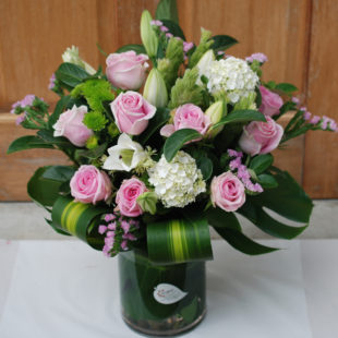 Pink Exceptional Arrangement in Glass Vase