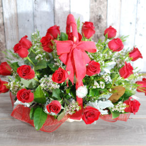 Beautiful Rose Basket Arrangement - 24 stems