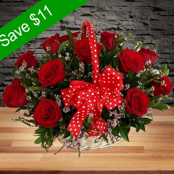 Beautiful Roses Basket – 12 Premium Red Roses