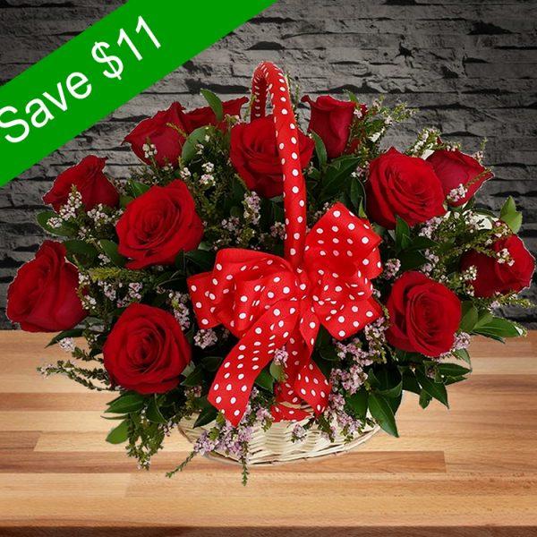 Beautiful Roses Basket – 12 Premium Red Roses
