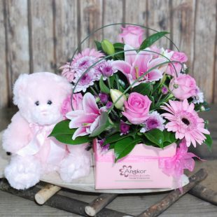 Beautiful Baby Girl- Pink Box Arrangement