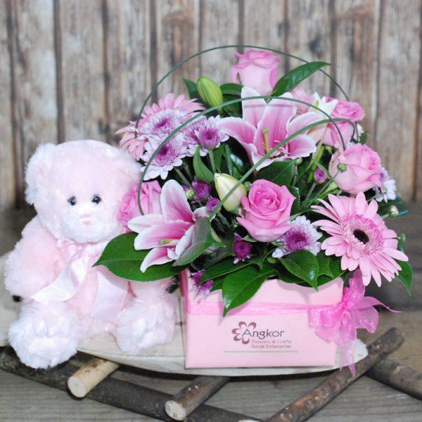Beautiful Baby Girl- Pink Box Arrangement