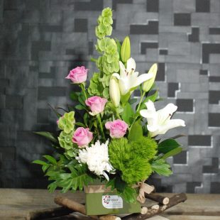Blessing- White and Pink Box Arrangement