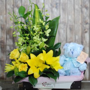 Cute Baby Boy - Yellow Arrangement and Teddy
