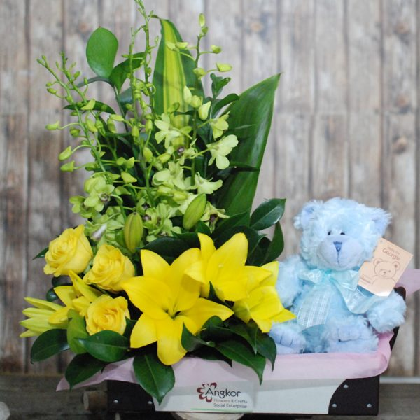 Cute Baby Boy – Yellow Arrangement and Teddy