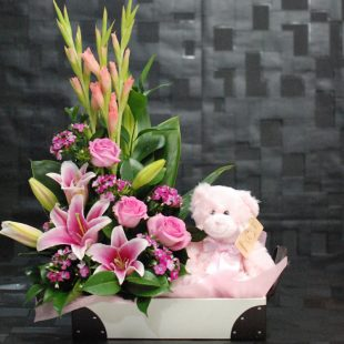 Cute Baby Girl - Pink Arrangement and Teddy