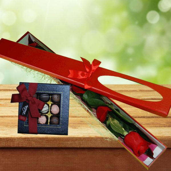 Exotic Rose Gift Box Red – Single Stem and Choc