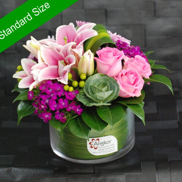 Flower Gift -Cherrish Pink and Purple – Glass Vase Arrangement Main