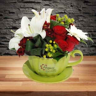 Loving - Red and White Tea Cup Arrangement -Main