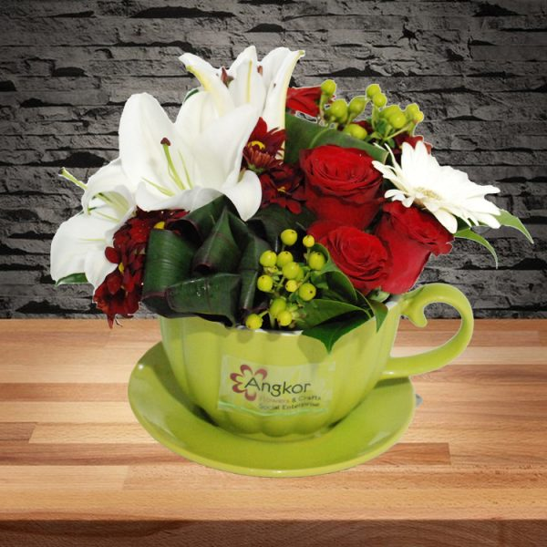 Loving – Red and White Tea Cup Arrangement -Main