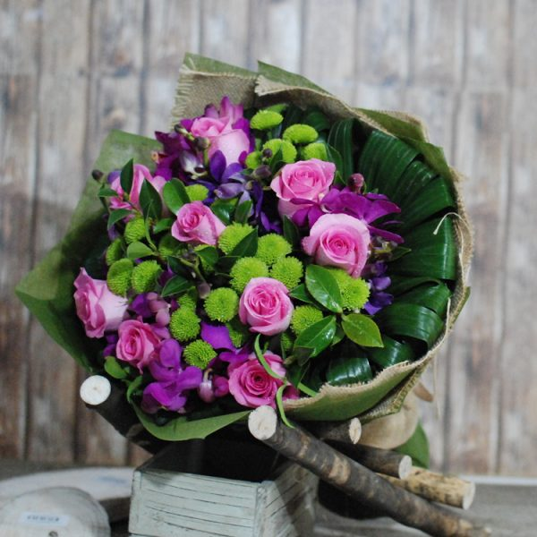 Magnificent- Pink Rose and orchid Bouquet1