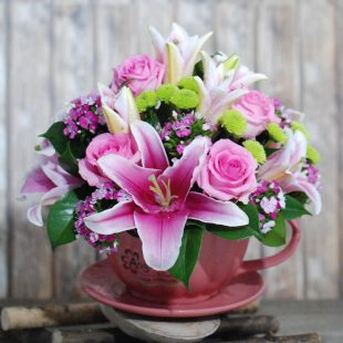 Marvelous- Pink Tea Cup Arrangement