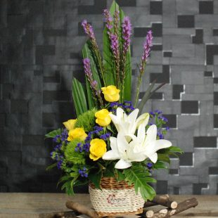 Natural - White and Yellow Basket Arrangement
