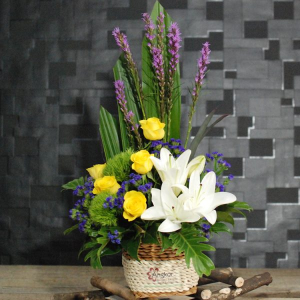 Natural – White and Yellow Basket Arrangement