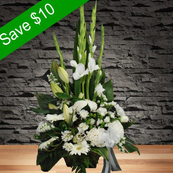 Purity – White Basket Arrangement-Main