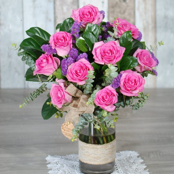 Birthday Flowers – My Beautiful Pink – 10 Pink Roses in Cylinder Glass Vase