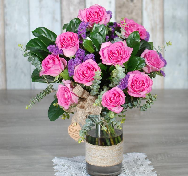 My Beautiful Pink 10 Premium Pink Roses Ag10p Angkor Flowers