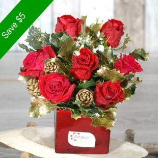 Christmas Flowers - Celebration Xmas- Small-  Red Arrangement