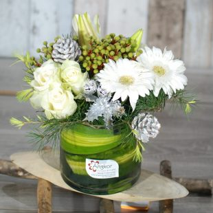 Christmas Flowers - Cheery Festival Xmas-   White and Silver Arrangement