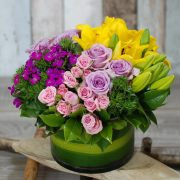 Flower Gift- Cherrish Purple and Yellow- Glass Vase Arrangement 2