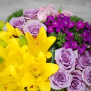 Flower Gift- Cherrish Purple and Yellow- Glass Vase Arrangement 3