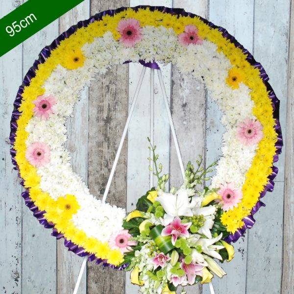 Funeral Flowers Wreath – Be Blessing in White and Yellow – Angkorflowers