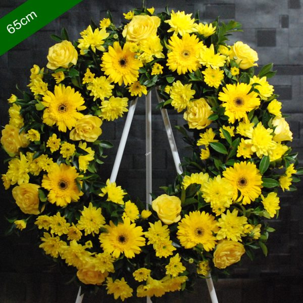 Funeral Flowers Wreath – Be Comfort in Yellow – Angkor Flowers