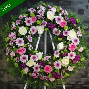 Funeral Flowers Wreath - Sincere in Pink- Angkor Flowers