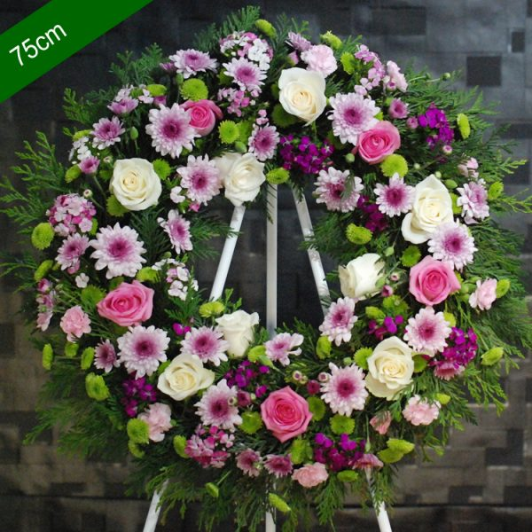 Funeral Flowers Wreath – Sincere in Pink- Angkor Flowers