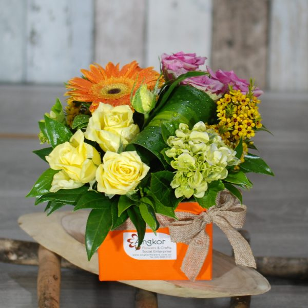 Get well Flowers- Mini Colourful- Mini Box Arrangement1 – Angkorflowers