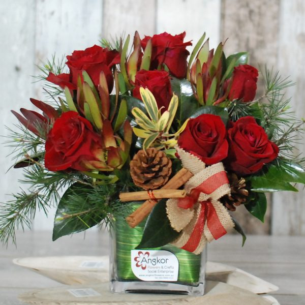 Merry Christmas – Red rose arrangement