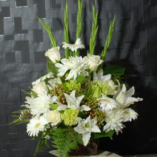 Sympathy Flowers- Heartfelt Sympathy- White Arrangement - Angkorflowers