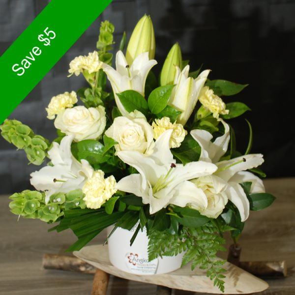 Sympathy Flowers- Warm Thoughts- White Arrangement in Ceramic Vase – Angkorflowers