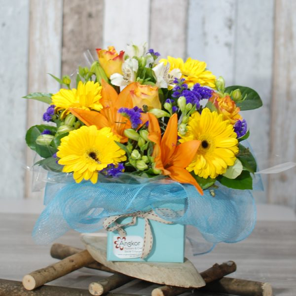 Fresh Flower Arrangement – Be Bright and Healthy- Yellow and Orange