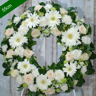 Funeral Flower Wreath- Be Comfort in White - angkor flowers