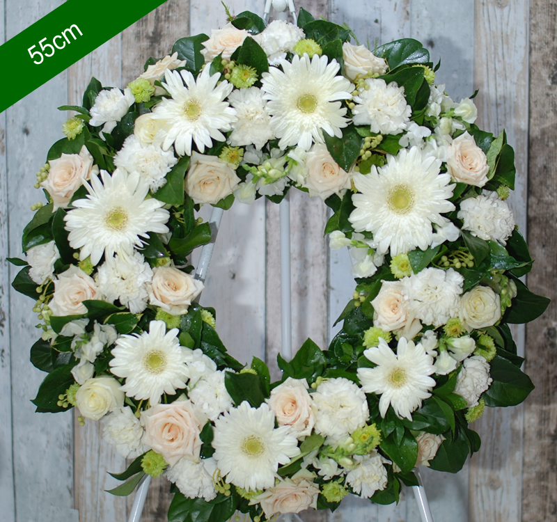 Funeral Flowers Wreath Be Comfort In White Ww07 45cm Angkor