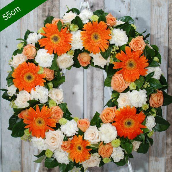 Funeral Flowers Wreath- Be Comfort in Orange- Angkor flowers