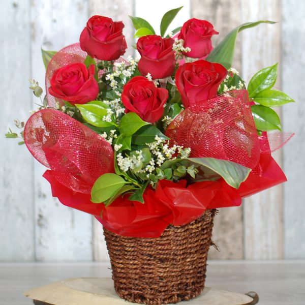 Valentine Flowers – Darling Roses Basket – 6 Red Roses