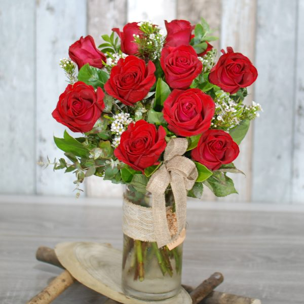 Valentine Flowers – My Beautiful – 10 Red Roses in Cylinder Glass Vase